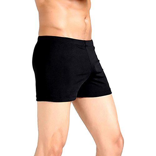 Aliciga水着メンズサーフパンツ無地インナー夏競泳水着速乾ショートパンツプール温泉海おおきいサイズ(L,ブラック)