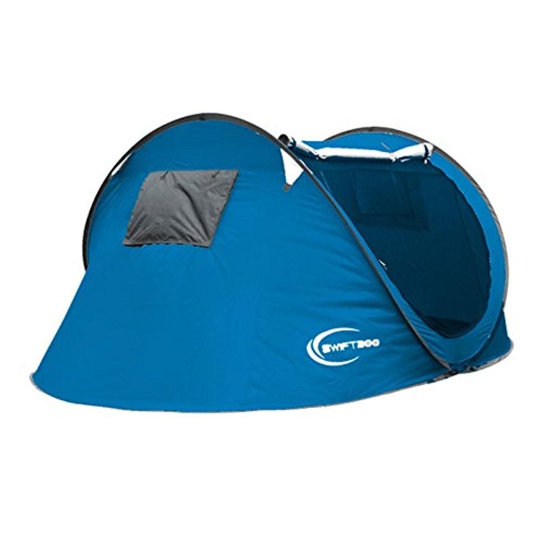 カテゴリー熱意おそらくOkiiting ポータブル自動換気屋外ピクニックキャンプのテント折りたたみ3-4良い容易な設置スペースが大きい日除けテントです うまく設計された (Color : ブルー)