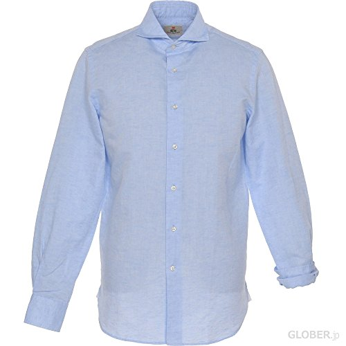 GUY ROVER ギローバー ウォッシュドシャツ コットンリネンシャンブレー 2 サックス L 【正規販売店】