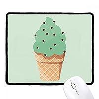 グリーンオートミールIce Cream IllustrationノンスリップマウスパッドゲームOfficeブラックtitchedエッジギフト
