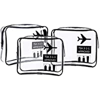 TSA Approved Clear Toiletry Bag, AOLVO 3 Pack Travel Quart Sized Cosmetic Organizer Carry On Airport Airline Compliant Bag with Zipper, Makeup Bag Set for Liquids/Bottles/Men's/Women's 3-1-1 Kit