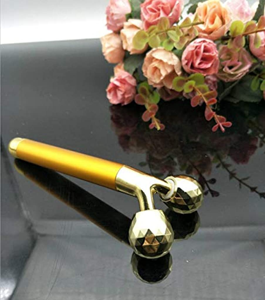 スナッチ市の花逃れるHello 24KゴールドビューティーバーT型電気マッサージ棒金棒細い顔神3 Dローラー美容マッサージ