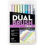 Tombow Pastel Colours Dual Brush Pen 10-Pieces Set, 1 Pack, 56187