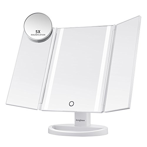 Jerrybox 三面鏡 卓上スタンドミラー LED化粧鏡 折りたたみ式 タッチスクリーン USBまたは電池式 180度調整 LEDイルミネーション (SM216 ホワイト)
