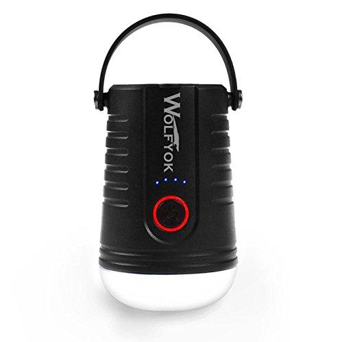 LEDランタン Wolfyok USB充電式ランタン 【連続照明100時間】 携帯式LED懐中電灯 4つ調光モード モバイルバッテリー機能付き IP65防水&防塵認証 多機能テントライト アウトドア&キャンプ/防災用品