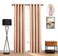 (52Wx84L, Beige(1 Panel)) - LOFT store Blackout Curtains Room Darkening Thermal Insulated Fashion Grommet Window Curtain For Living Room Bedroom (Beige(1 panel), 52Wx84L)