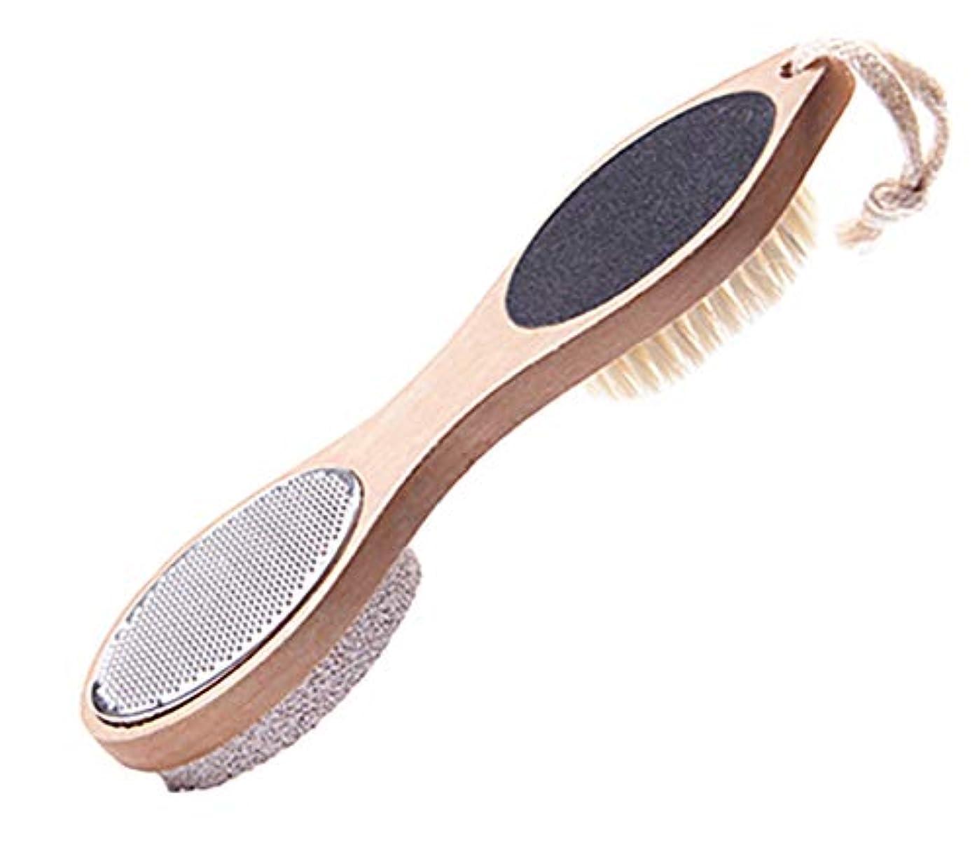 Maltose フットファイル 脚裏ブラシ 豚毛 軽石 四つ用途フットブラシ フットメジ 角質.魚の目やすり 足用 足の裏ブラシ かかと削り