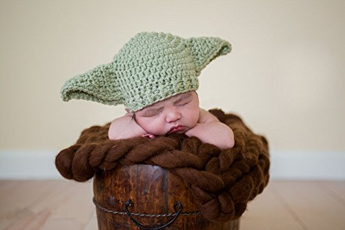 Starry 赤ちゃん ベビー 用 ニット帽 スターウォーズ ヨーダ 風 かわいい ニット 帽子 クリスマス プレゼント などに (グリーン)