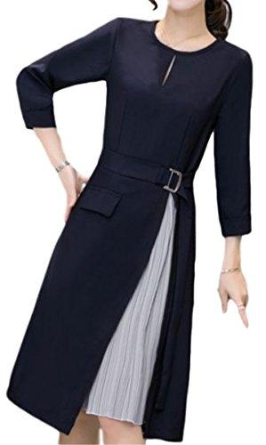 (イレリル) ワンピース プリーツ スリット フォーマル ドレス 紺 長袖 ひざ丈 レディース お呼ばれ (4: XL サイズ )