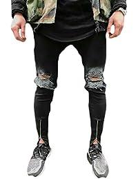 Nicellyer 男性のドレープを苦しむジップテーパー状の伸縮性のあるファブリックパッチワークジーンズ