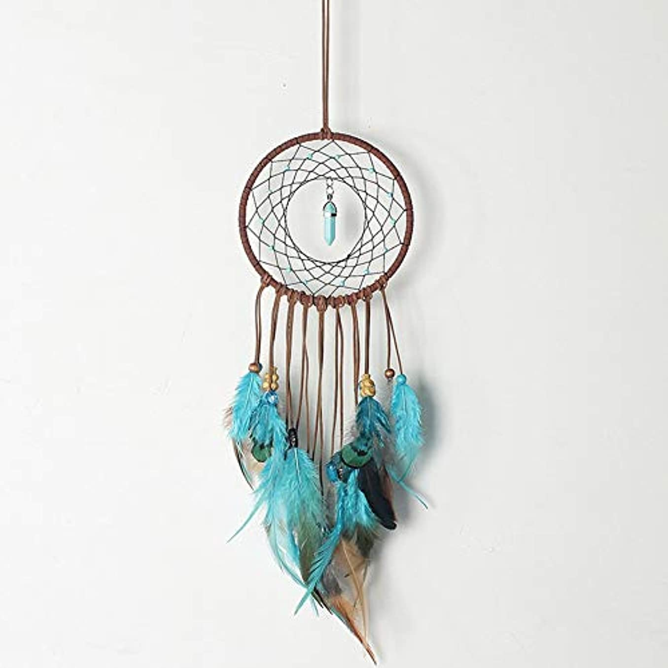 レクリエーション知恵請求書HMMJ ベッドルームの装飾オーナメントクラフト用羽風の鐘で円形ネットハンギング青い壁の装飾手作り織りDIYドリームキャッチャーウォール