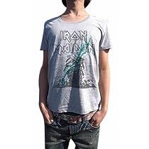 こいつは革命です BUY OR DIE ハードロック古着とは一線を画す 現代版スタイリッシュ メイデンUネックTシャツ IRON MAIDEN アイアン・メイデン PAINT MAIDEN (S, GLAY)