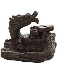 家の装飾ドラゴン逆流還流香バーナーセラミックスティックホルダーコーンセンサー茶室飾り香炉 芳香器?アロマバーナー (Color : Black, サイズ : 3.46*3.14*2.36 inches)