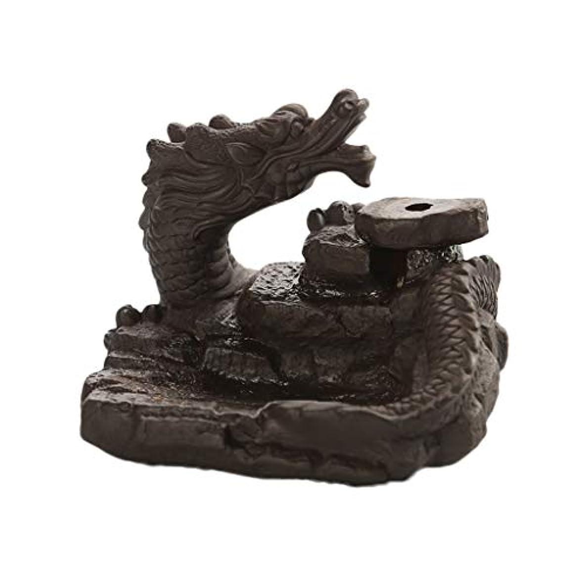 タフ屈辱するレジデンスセラミックドラゴン池香バーナー逆流香スティックコーンバーナーホルダー還流ホームフレグランス装飾装飾品香ホルダー (Color : Black, サイズ : 3.46*3.14*2.36 inches)