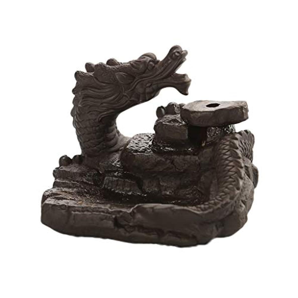 樹木うっかり計画家の装飾ドラゴン逆流還流香バーナーセラミックスティックホルダーコーンセンサー茶室飾り香炉 (Color : Black, サイズ : 3.46*3.14*2.36 inches)