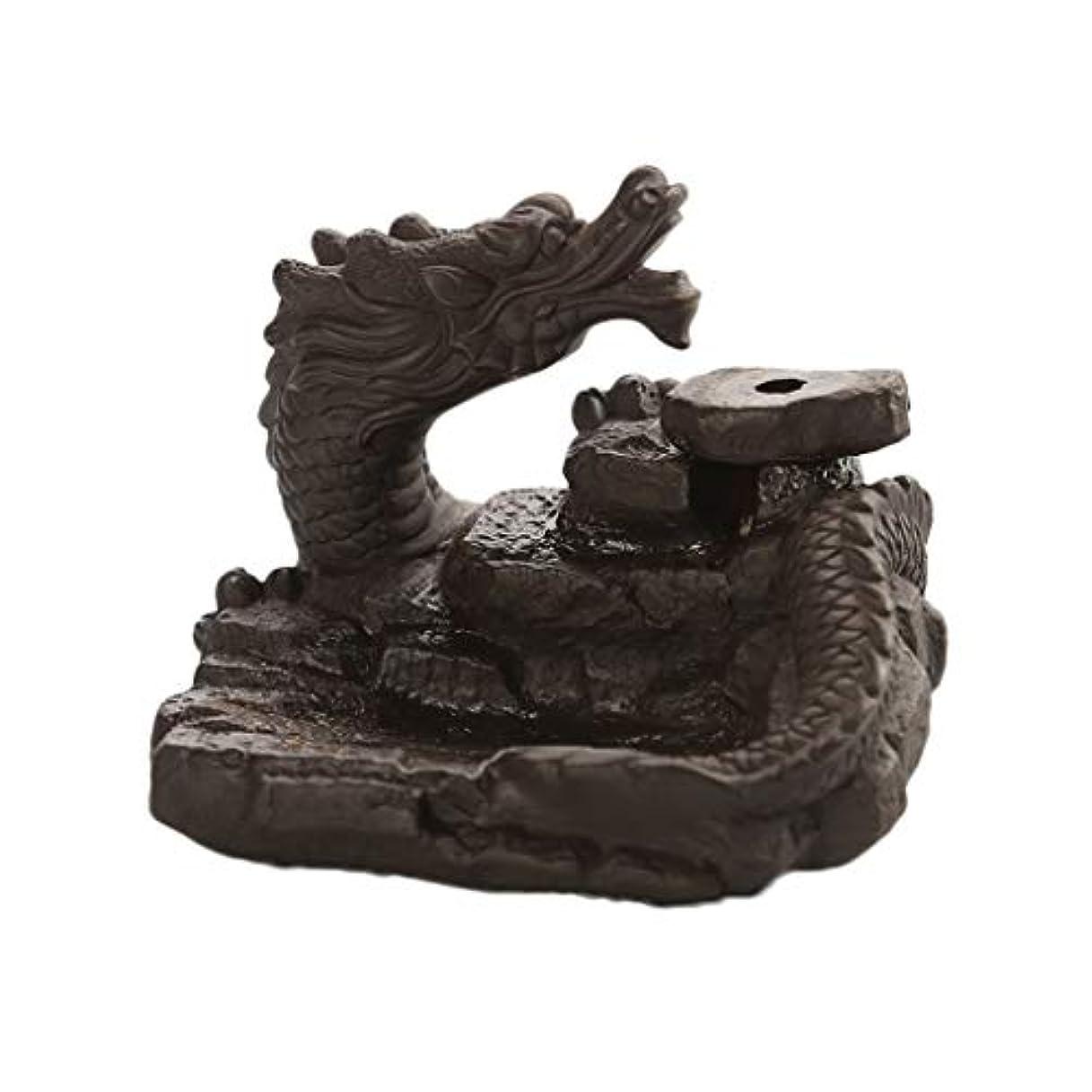 海岸空いているエンジニア家の装飾ドラゴン逆流還流香バーナーセラミックスティックホルダーコーンセンサー茶室飾り香炉 (Color : Black, サイズ : 3.46*3.14*2.36 inches)
