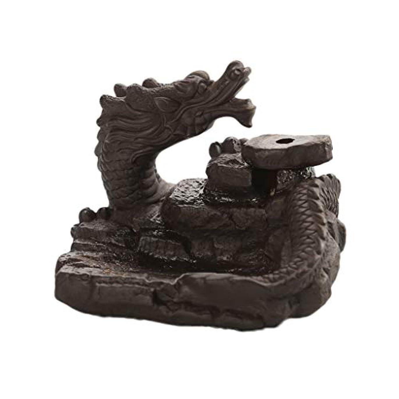 起きて過ち症候群家の装飾ドラゴン逆流還流香バーナーセラミックスティックホルダーコーンセンサー茶室飾り香炉 (Color : Black, サイズ : 3.46*3.14*2.36 inches)