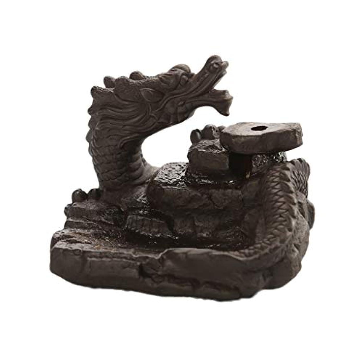 洗練された戦争郵便家の装飾ドラゴン逆流還流香バーナーセラミックスティックホルダーコーンセンサー茶室飾り香炉 (Color : Black, サイズ : 3.46*3.14*2.36 inches)
