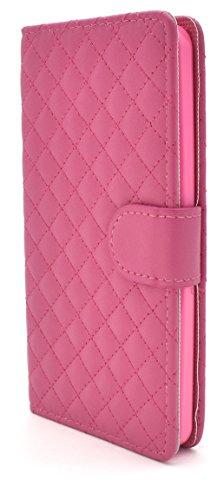 PLATA Y!mobile Android One S2 / SoftBank DIGNO G ( 601KC & 602KC ) ケース 手帳型 キルティング レザー ポーチ アンドロイドワンs2 ディグノg 【 ビビットピンク ビビッドピンク pink ピンク 】 YAOS2-57VP