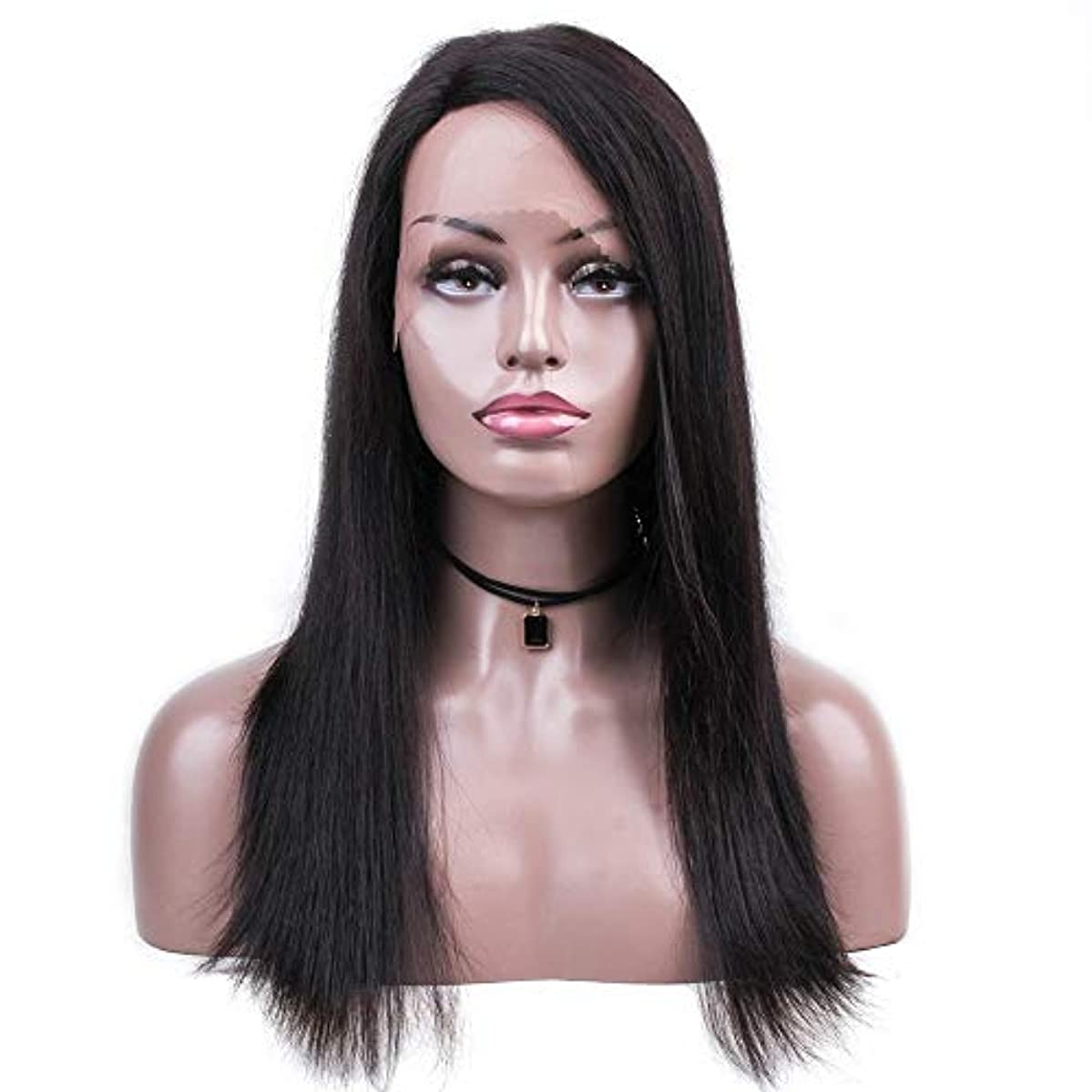 酒メトリックスカリーWASAIO 女性の絹のようなストレートヘアの無料別れの自然な色18インチブラジルの人間の毛髪のかつら (色 : 黒)
