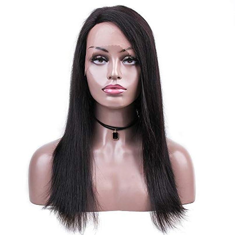 洪水みがきます周りWASAIO 女性の絹のようなストレートヘアの無料別れの自然な色18インチブラジルの人間の毛髪のかつら (色 : 黒)