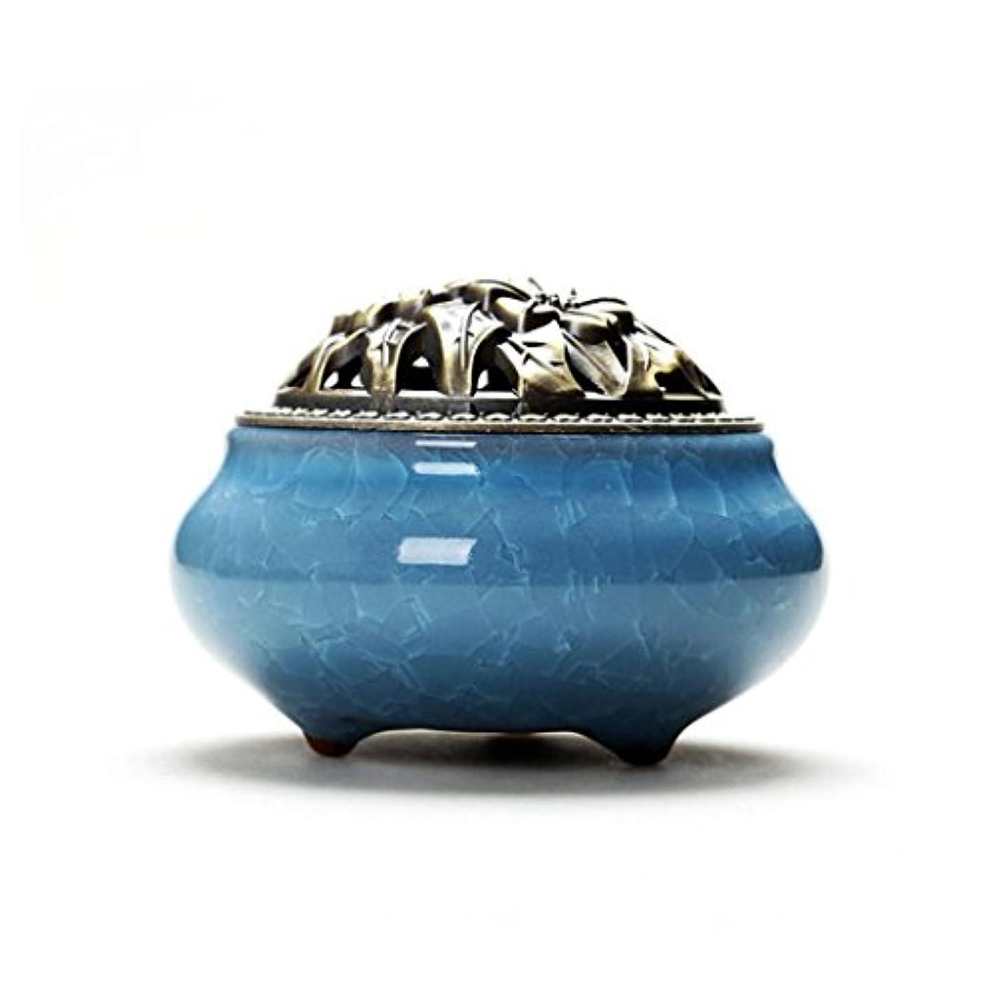 悲しいことにレンダリング建設Aijoo 陶磁器 香炉 丸香炉 アロマ陶磁器 青磁 香立て付き アロマ アンティーク 渦巻き線香 アロマ などに 調選べる 9カラー