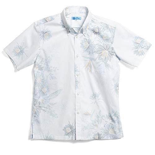 [MAJUN (マジュン)] 国産シャツ かりゆしウェア アロハシャツ 結婚式 メンズ 半袖シャツ ボタンダウン パライスペタル ブルーグレー L