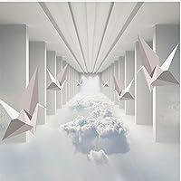 Wxmca 3D壁紙モダンステレオペーパークレーン雲建物写真壁壁画リビングルームテレビソファ寝室の背景-400X280Cm