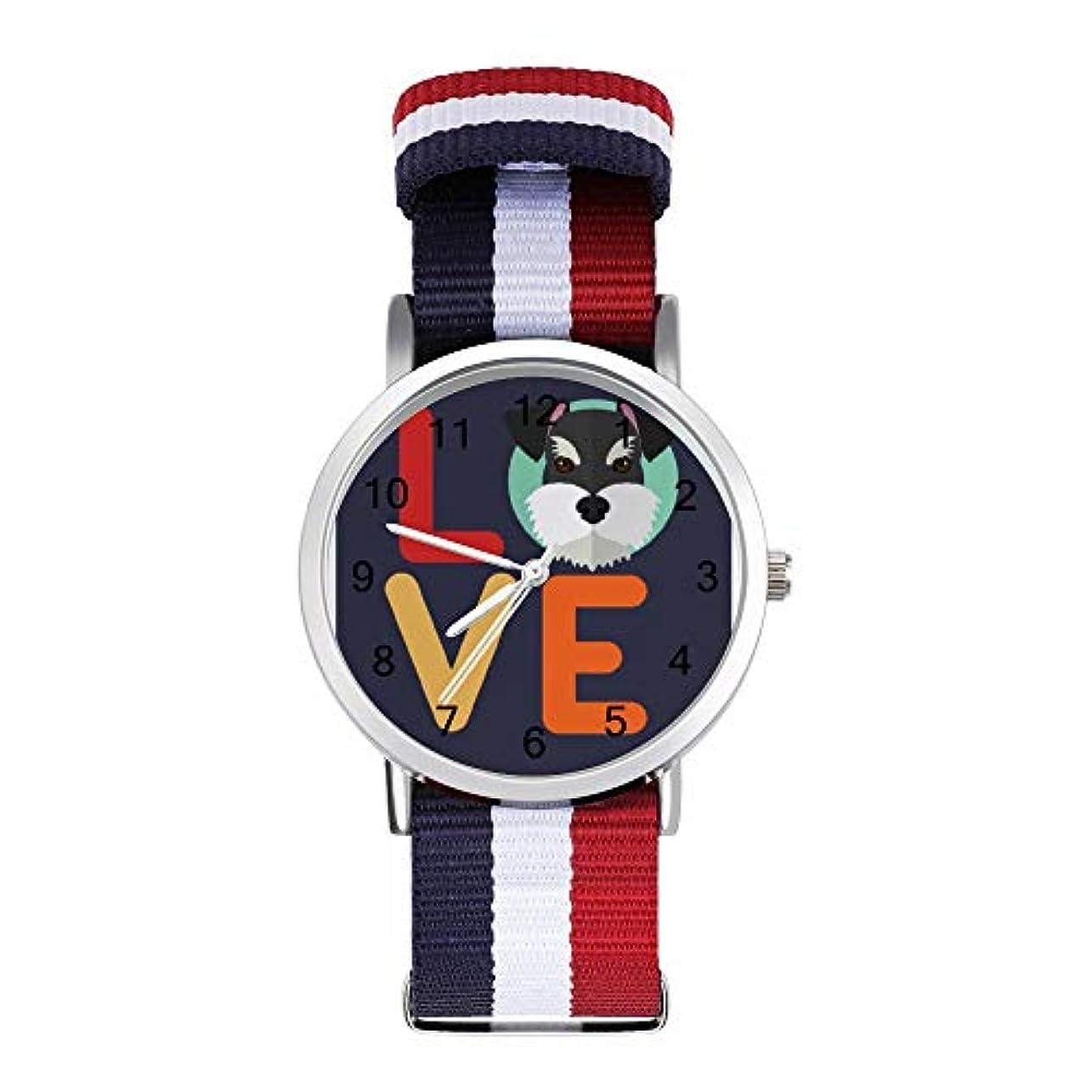 ピカソタワー物足りないHAYOE 腕時計 時計 ラウンドフェイスウォッチ ファッション 男女兼用 Nylon Watch ギフト プレゼント ミニチュア·シュおもしろいナウザーIハート·ドッグ愛好家