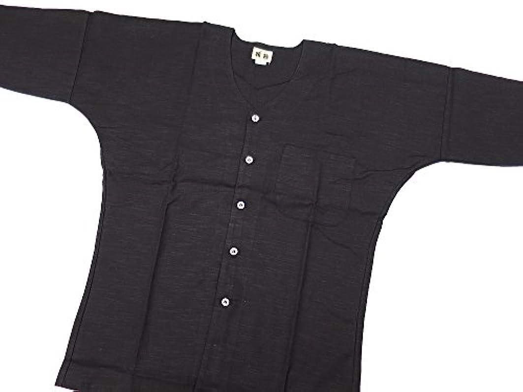 バンまばたき嘆願【義若】オリジナル鯉口シャツ【綿紬?黒】 男女兼用 (Lサイズ(大))