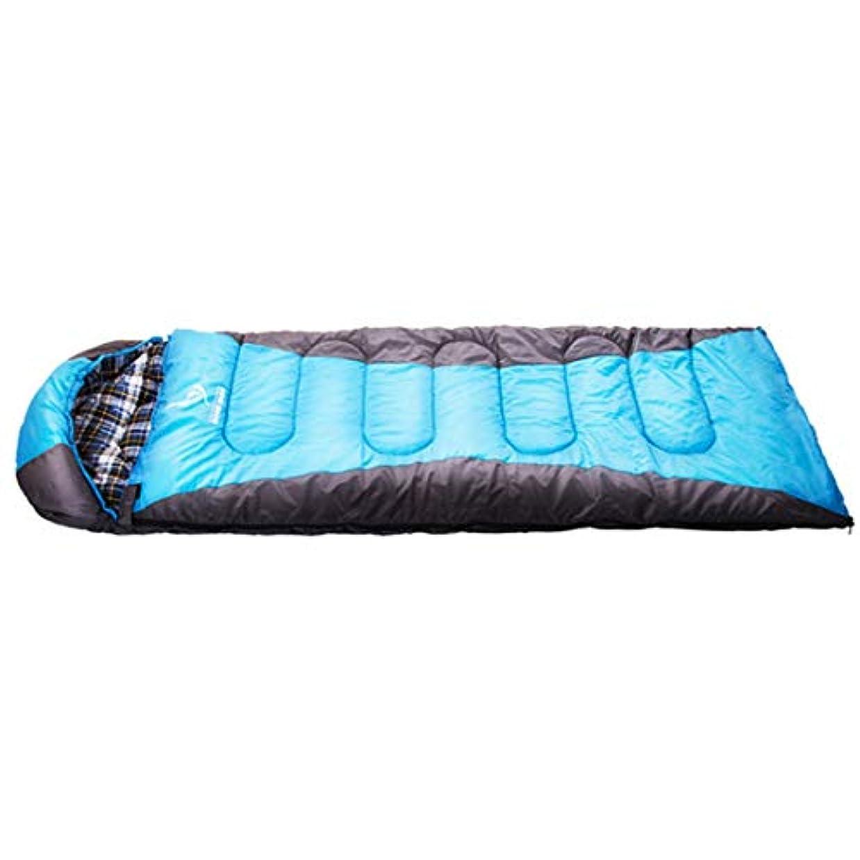 コイル広々とした人間Koloeplf コットンフランネル寝袋と大人のための快適な圧縮袋寒い天気 (Color : Black blue)