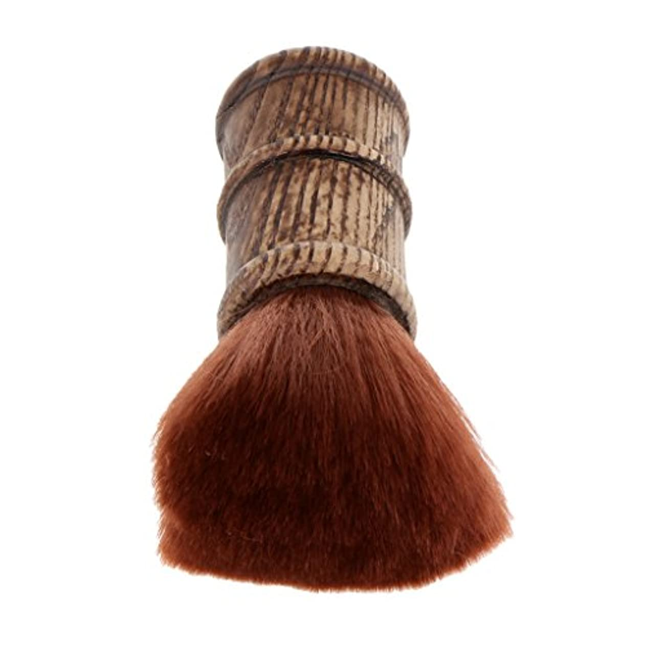 バクテリア診断する農村ネックダスターブラシ ヘアカットブラシ ブラシ プロ サロン 柔らかい 自宅用 ヘアスタイリスト ヘアカット 散髪 理髪師 2色選べる - 褐色