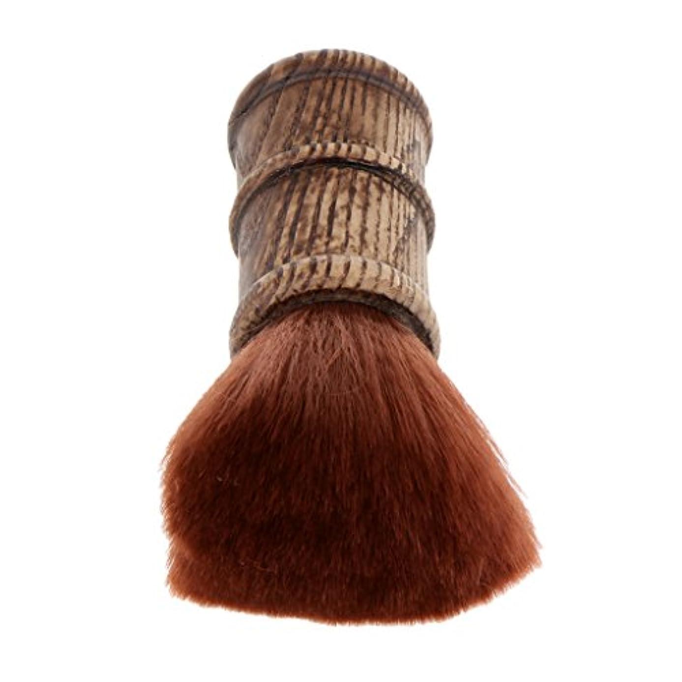 パースピーク郵便ネックダスターブラシ ヘアカットブラシ ブラシ プロ サロン 柔らかい 自宅用 ヘアスタイリスト ヘアカット 散髪 理髪師 2色選べる - 褐色
