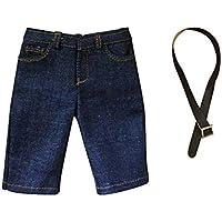 Lovoski 1/6スケール メンズ ファッション デニム ショートパンツ ジーンズ  ベルト付  12インチ 男性フィギュア対応 衣類  - 濃紺