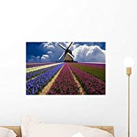 Windmill and Flower Field Wall Mural by Wallmonkeys Peel and Stick Graphic (18 in W x 12 in H) WM81684 [並行輸入品]