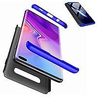 JWYD Samsung Galaxy S10 ケース 軽量 耐久性 手触りよく スクラッチ防止 指紋防止 PC 耐衝撃 Samsung Galaxy S10 ケース 薄型 おしゃれ かっこいい (強化ガラスフイルム含めません) (青と黒)