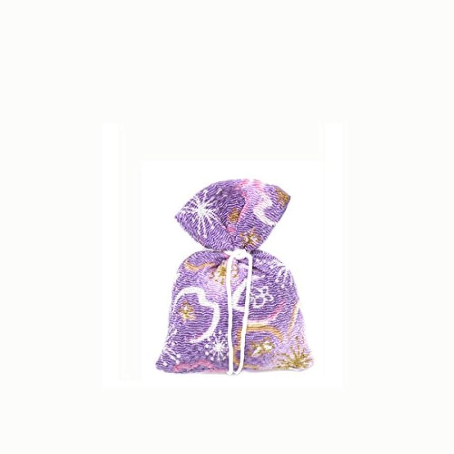 完全に乾くまばたき進む匂袋 巾着 友禅中 紫系