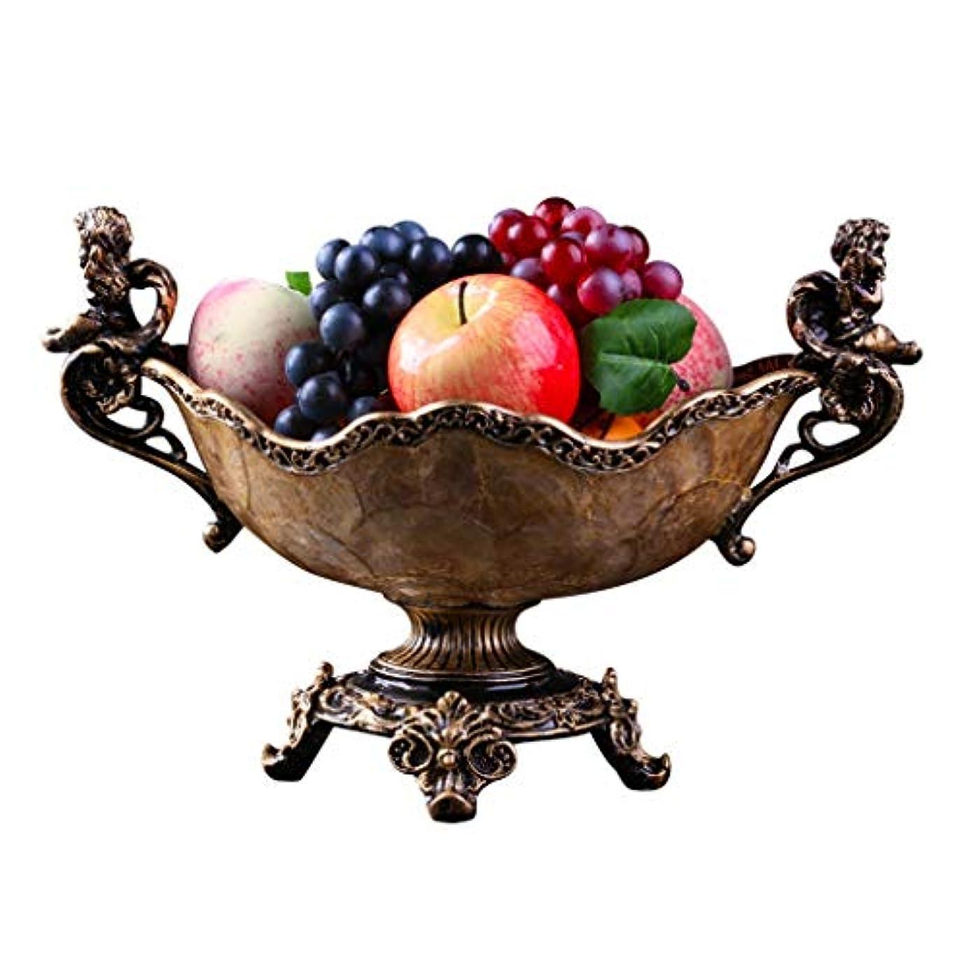 悪意のある放出乳剤フルーツプレートヨーロッパのフルーツプレート高級高級リビングルームレトロキャンディープレート大家の装飾 (Color : Brown)