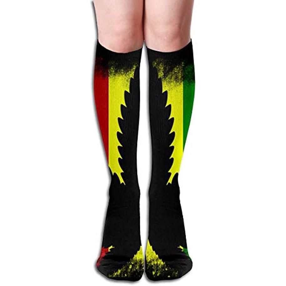突然の日曜日曇ったQrriyレディースラスタフラッグラストラ雑草大麻ソフトクリスマス膝高ストッキングスリッパソックス、クリスマス楽しいカラフルな靴下