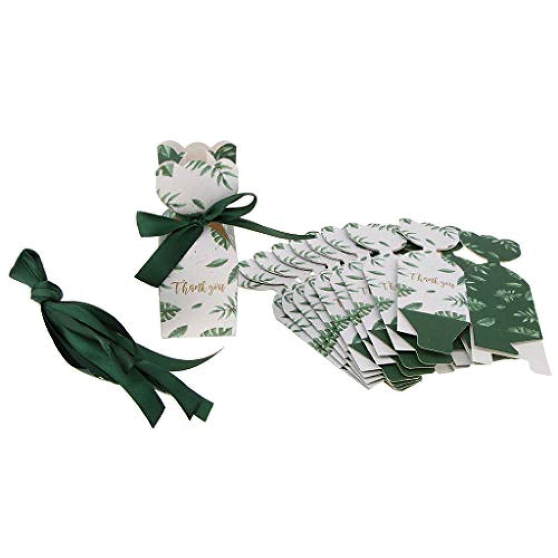 D DOLITY 10個 ギフトボックス リボン装飾 小物入れ 紙箱 お菓子 手作りチョコ 4色選べ - グリーン