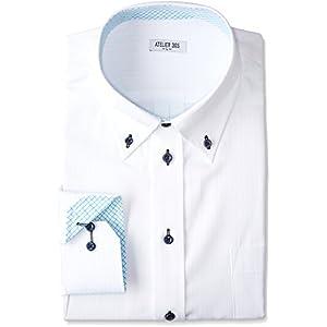 (アトリエサンロクゴ) atelier365 ワイシャツ メンズ 長袖 Yシャツ イージーケア ノーマル スリム ボタンダウン ビジネス ドレス シャツ sun-ml-wd-1130 sun-ml-wd-1130-M-39-82-TS17AW-E E M