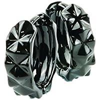 [ATK21] 両耳用(2点セット)ダイヤモンドカッティング フープピアス シンプル ブラック シルバー メンズ レディース ユニセックス アクセサリー (L/ブラック)