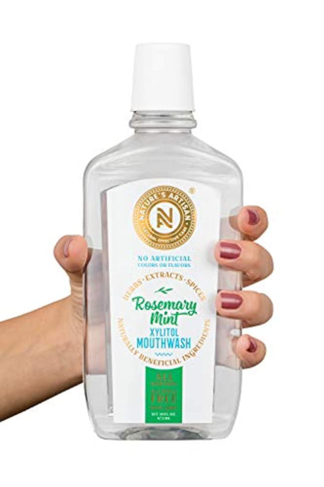 彼は調和のとれたウガンダNEW!! All-Natural Alcohol-Free Rosemary Mint Xylitol Mouthwash (16 oz) by Nature's Artisan