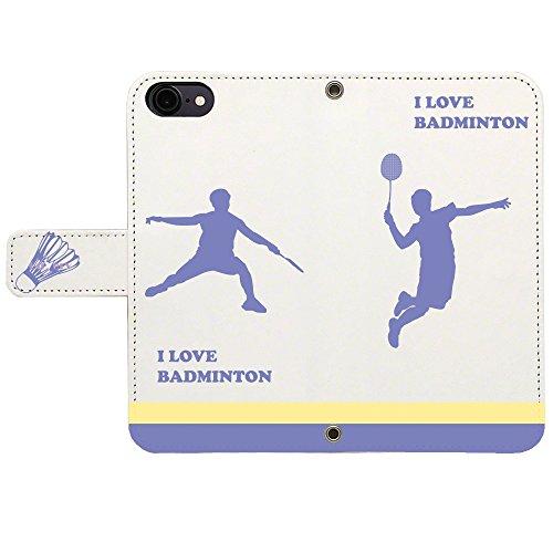 iPhone7 対応 ケース スタンド 手帳 型 Booklet ダイアリー CuVery I love Badminton バドミントン
