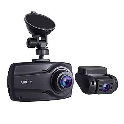 AUKEY ドライブレコーダー 前後カメラ 2.7インチ 1080PフルHD 200万画素 WDR機能 170°広視野角 LED信号対策済み 2年保証 常時録画 緊急録画 動き検知 タイムラプス DR03