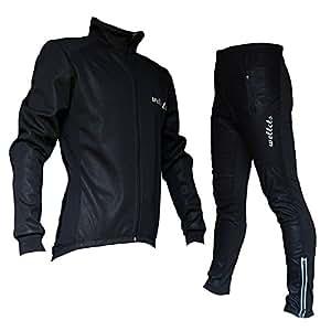 Wellcls 冬用サイクルジャケット 上下セット 防風 ウインドブレーク 自転車 サイクリング (黒, S)