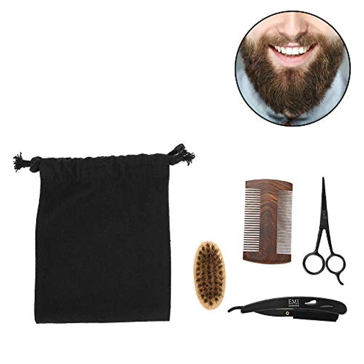 男性のためのSemmeひげグルーミングキット、ひげブラシセット、ひげケアセットスタイル男性のくしブラシはさみキットモデリングクリーニング修理セットとキャンバスバッグ