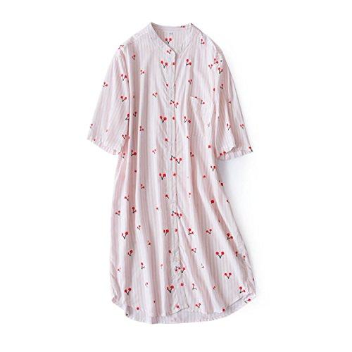 haolong パジャマ ワンピース 半袖 前開きネグリジェ 綿100% 春夏 前開き 可愛い パジャマ 涼しい ネグリジェ ナイトウェア 女性用ナイトウェア 部屋着