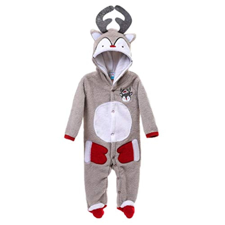 Perfeclan ベビー服 長袖カバーオール 足つきロンパース 新生児 赤ちゃん ボディスーツ 前開き 全7サイズ2色