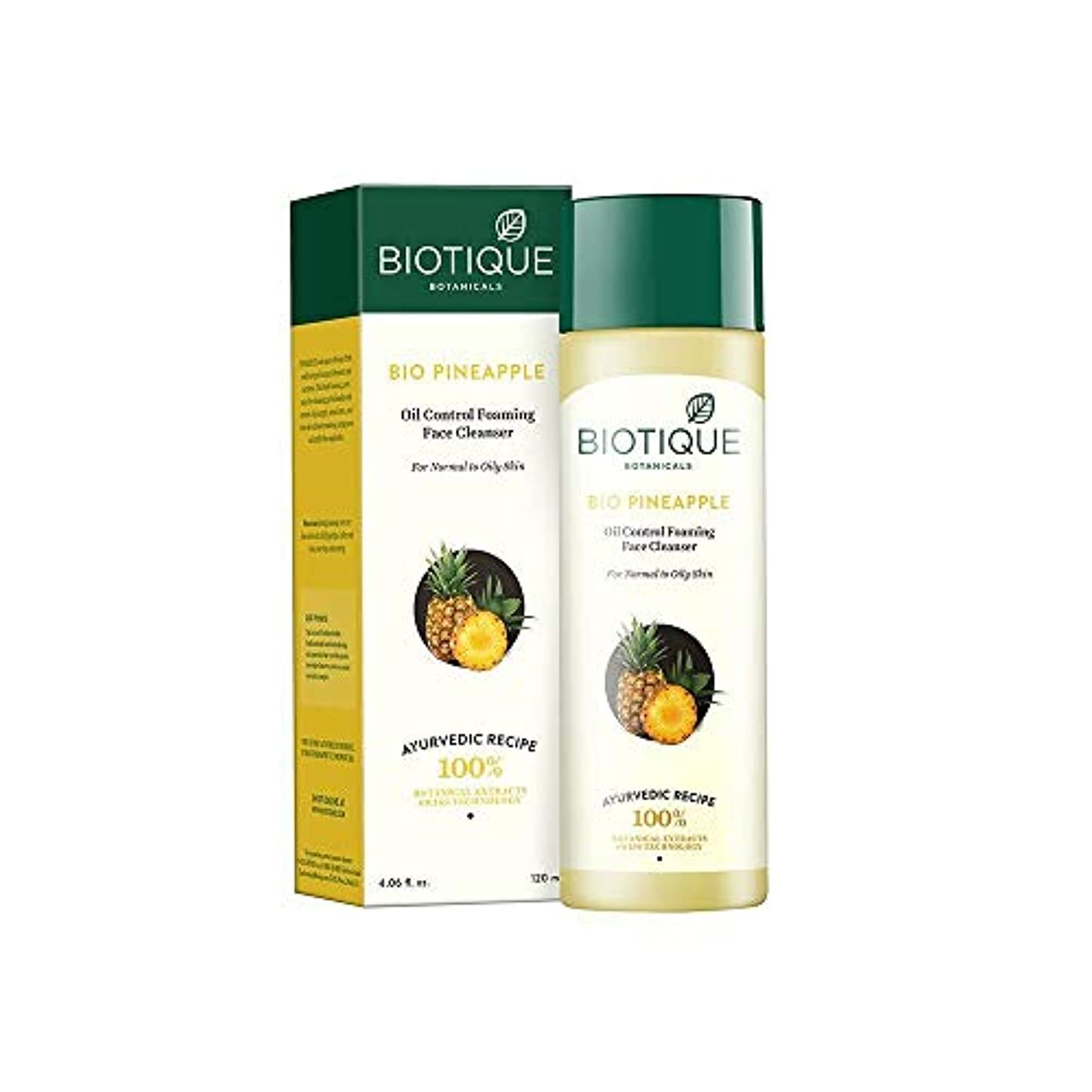 自然椅子かわすBiotique Pineapple Fresh Foaming Cleansing Gel for Normal to Oily Skin, 120ml